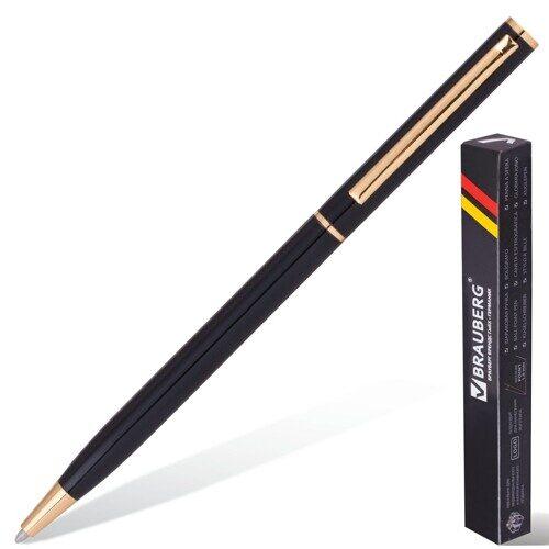 """Ручка шариковая бизнес-класса BRAUBERG """"Slim Black"""", корпус черный, синяя, арт. 141402"""