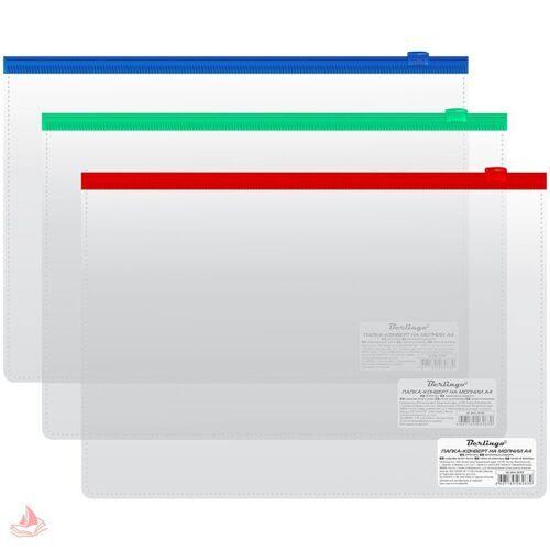 Папка-конверт на молнии A4 Berlingo, 110мкм, прозрачная, AKm_04109