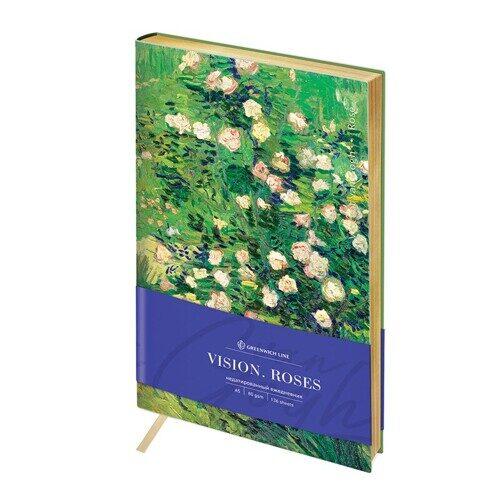 """Ежедневник недатированный A5 136л Greenwich Line """"Vision.Van Gogh. Roses"""", кожзам, золотой срез, ENA5-30156"""