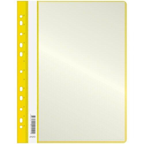 Папка OfficeSpace А4, с 10 вкладышами с перфорацией, желтая, 160 мкм