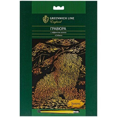 """Гравюра Greenwich Line """"Собака"""", с эффектом золота, 29,5*21 см, арт. EA_22549"""