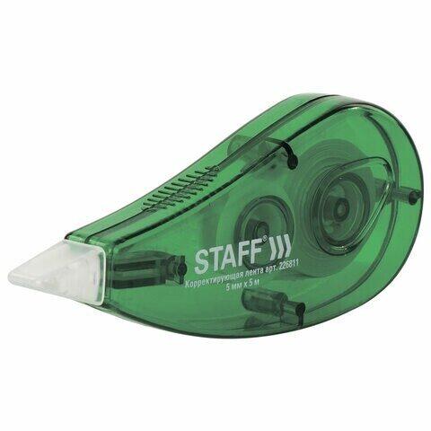 """Корректирующая лента STAFF """"Everday"""" 5 мм х 5 м, корпус зеленый, блистер, 226811"""