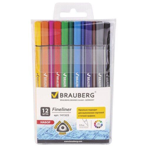 """Набор капиллярных ручек BRAUBERG """"Aero"""", 12 цветов, трехгранные, металлический наконечник, линия письма 0,4 мм, арт. FL103"""