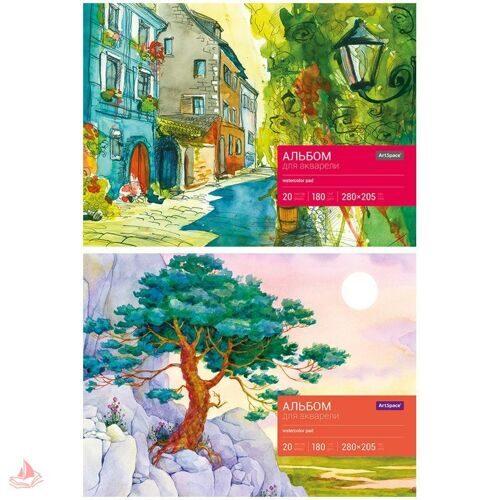Альбом для акварели ArtSpace А4, 20л, на склейке, картонная подложка, арт. Аа20_7898