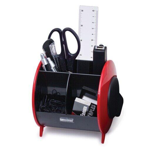 Настольный органайзер BRAUBERG, 10 предметов, вертикальная вращающаяся конструкция, черный/красный, блистер, арт. 231927