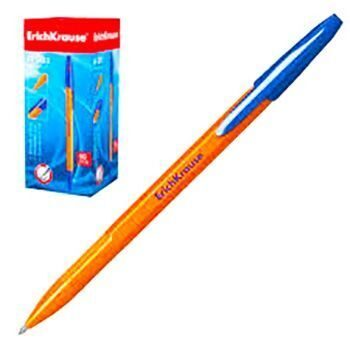 Ручка шариковая Erich Krause R-301 Orange синяя 1,0мм рифленый держатель, оранжевый пластиковый корпус, синий колпачок, 39031