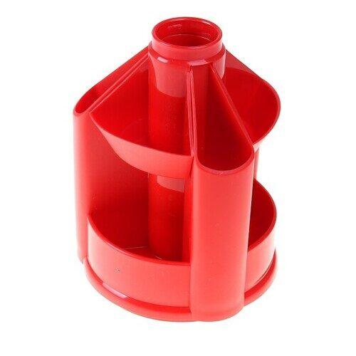 """Подставка-органайзер СТАММ """"Maxi Desk"""", вращающаяся, 120х140х175 мм, 10 отделений, красный,"""